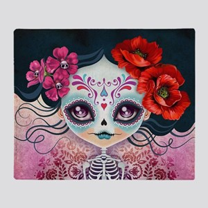 Amelia Calavera Sugar Skull Throw Blanket