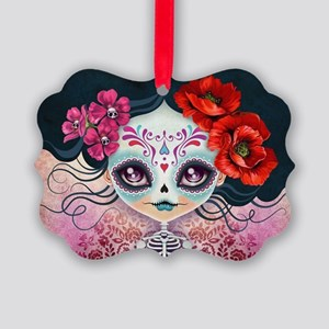 Amelia Calavera Sugar Skull Picture Ornament