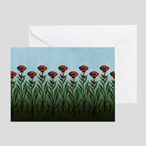 Tall Red Flowers Greeting Cards