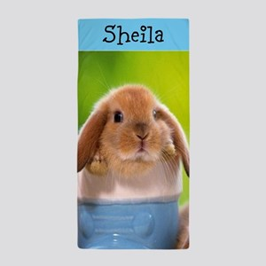 Personalized Bunny In Boot Beach Towel
