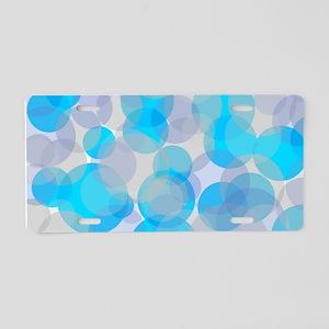 Blue abstract circles desig Aluminum License Plate