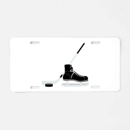 Hockey Stick Skate Puck Aluminum License Plate