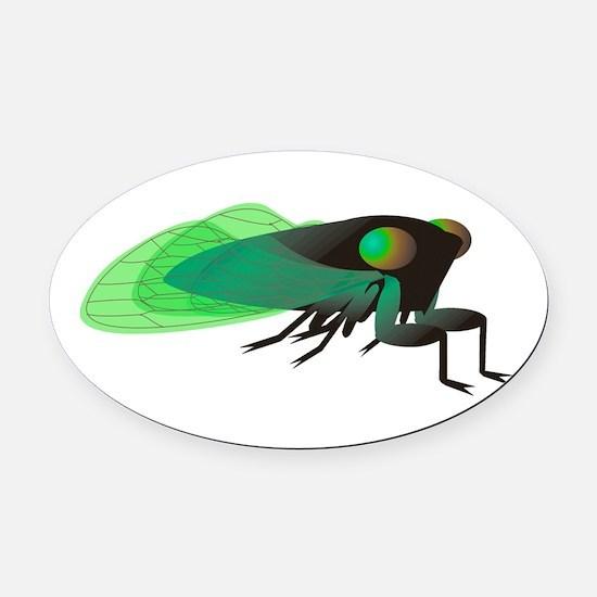 Green Cicada Illustration Oval Car Magnet