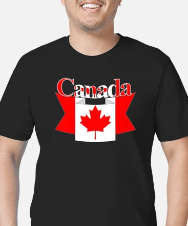 Canada ribbon Men's Fitted T-Shirt (dark)