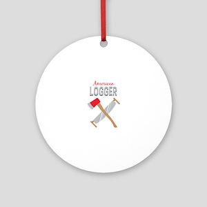 Saw Axe Lumberjack American Logger Ornament (Round