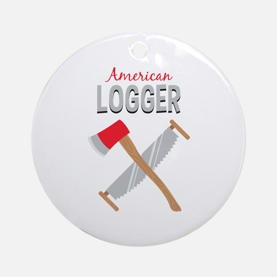 Saw Axe Lumberjack American Logger Ornament (Round