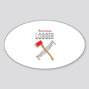 Saw Axe Lumberjack American Logger Sticker