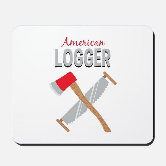 Saw Axe Lumberjack American Logger Mousepad