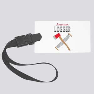 Saw Axe Lumberjack American Logger Luggage Tag