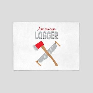Saw Axe Lumberjack American Logger 5'x7'Area Rug