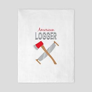 Saw Axe Lumberjack American Logger Twin Duvet