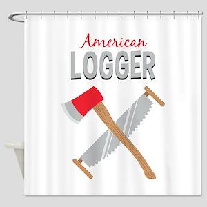 Saw Axe Lumberjack American Logger Shower Curtain