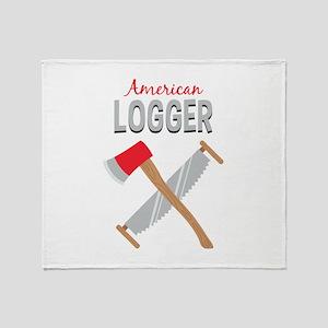 Saw Axe Lumberjack American Logger Throw Blanket