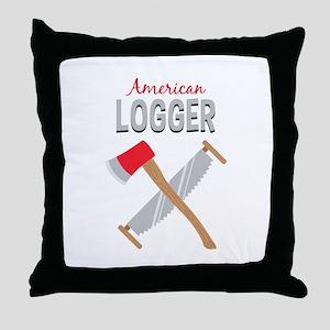 Saw Axe Lumberjack American Logger Throw Pillow
