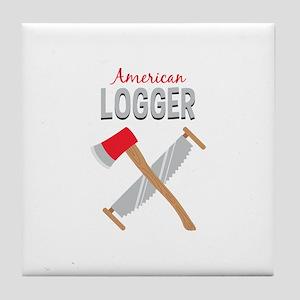 Saw Axe Lumberjack American Logger Tile Coaster