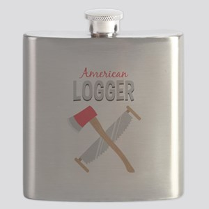 Saw Axe Lumberjack American Logger Flask