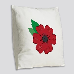 Remembrance Day Poppy Burlap Throw Pillow
