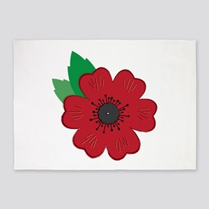 Remembrance Day Poppy 5'x7'Area Rug