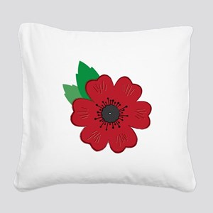 Remembrance Day Poppy Square Canvas Pillow