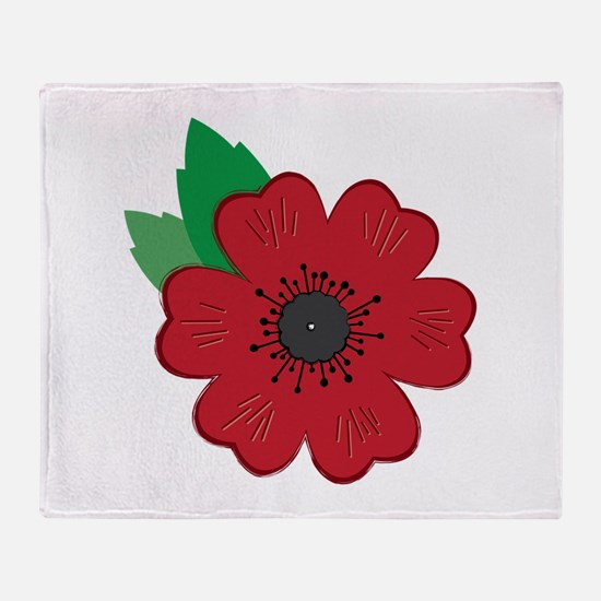 Remembrance Day Poppy Throw Blanket