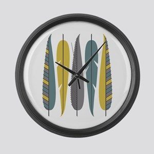 Decorative Feathers Large Wall Clock