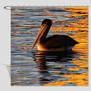 Pelican Sunset Shower Curtain