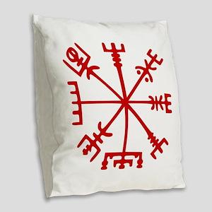 Blood Red Viking Compass : Vegvisir Burlap Throw P