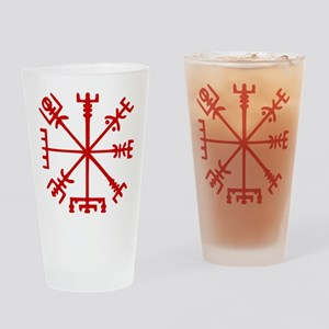 Blood Red Viking Compass : Vegvisir Drinking Glass