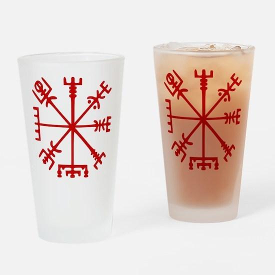 Blood Red Viking Compass : Vegvisir Drinking Glass