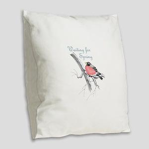 WAITING FOR SPRING Burlap Throw Pillow