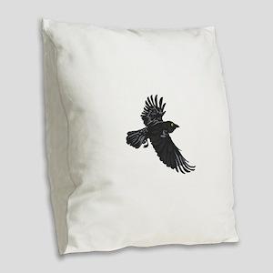RAVEN Burlap Throw Pillow