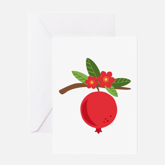 Pomegranate Blossom Fruit Tree Branch Greeting Car
