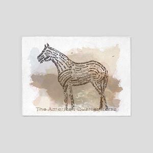 American Quarter Horse in Typograph 5'x7'Area Rug