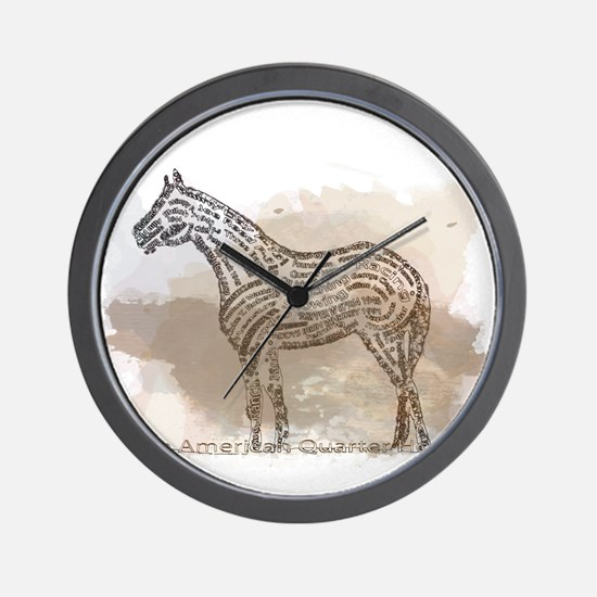 American Quarter Horse in Typography Wall Clock