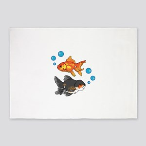 GOLDFISH AND BUBBLES 5'x7'Area Rug
