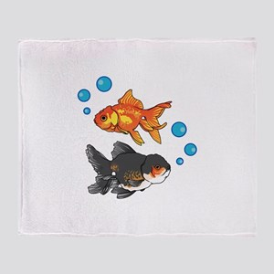 GOLDFISH AND BUBBLES Throw Blanket
