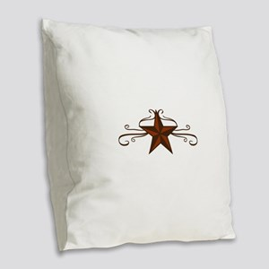 WESTERN STAR SCROLL Burlap Throw Pillow