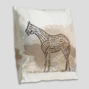 The Quarter Horse in Typography Burlap Throw Pillo