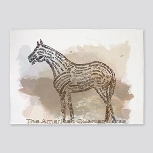 The Quarter Horse in Typography 5'x7'Area Rug