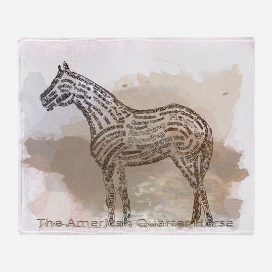 The Quarter Horse in Typography Throw Blanket