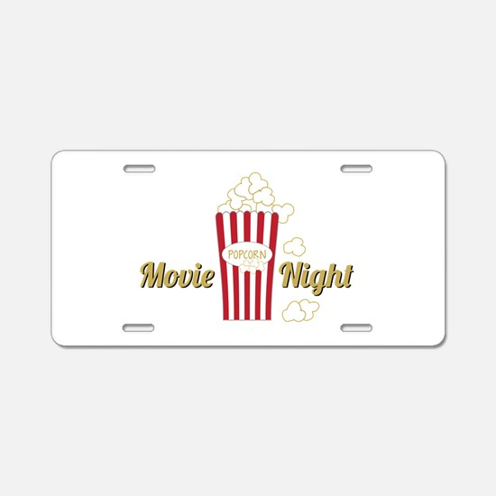 Movie Night Popcorn Aluminum License Plate