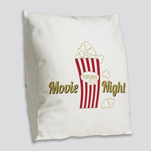 Movie Night Popcorn Burlap Throw Pillow
