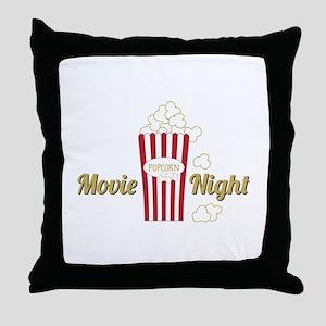 Movie Night Popcorn Throw Pillow