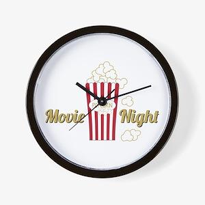 Movie Night Popcorn Wall Clock