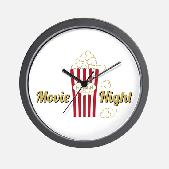 Movie Night Popcorn Wall Clock