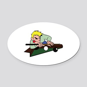 POOL PLAYER Oval Car Magnet