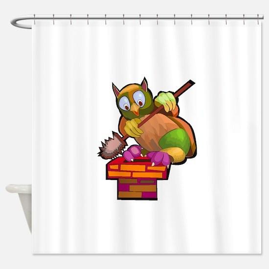 Chimney Sweep Owl Shower Curtain