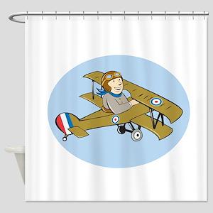 Sopwith Camel Scout Airplane Cartoon Shower Curtai