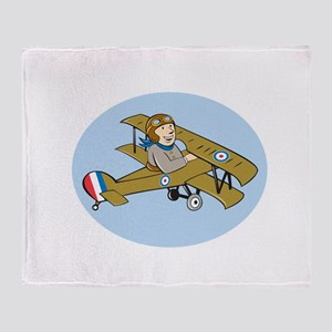 Sopwith Camel Scout Airplane Cartoon Throw Blanket