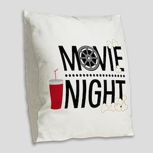 Movie Night Burlap Throw Pillow